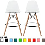 "2xhome Set of 2 Clear 28"" Contemporary Modern Molded Shell Acrylic Plastic Eiffel Dowel Counter Height Chairs Chair with Back Side Armless for Kitchen Commercial Home Outdoor Garden Patio Ghost DSW"