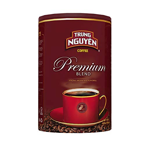 Trung Nguyen - Premium Blend - 15 Ounce Can | Vietnamese Coffee Ground Bean, Robusta and Arabica Premium Coffee Blend, Intense Flavor and Fragrance with Chocolate Hint, Medium Roast with Low Acidity