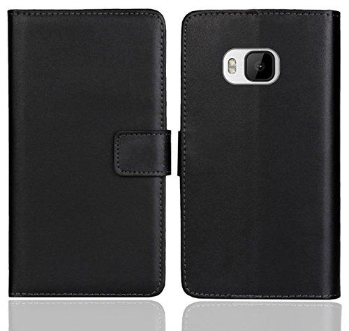 FoneExpert® HTC One M9 Handy Tasche, Wallet Hülle Flip Cover Hüllen Etui Ledertasche Lederhülle Premium Schutzhülle für HTC One M9 (Schwarz Farbe)