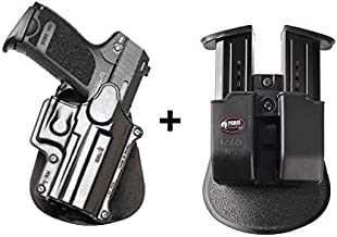 Fobus Concealed Carry Paddle Holster + 6909ND Double Magazine Pouch for H&K USP Compact 9mm, 40 cal, 45 cal / Taurus PT11, PT140, PT111. Ruger SR9/SR9c/SR40 Walther PPQ