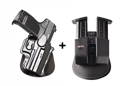 Fobus Concealed Carry Paddle Holster + 6909ND Double Magazine Pouch for H&K USP Compact 9mm, 40 Cal, 45 Cal/Taurus PT11, PT140, PT111. Ruger SR9/SR9c/SR40 Walther PPQ
