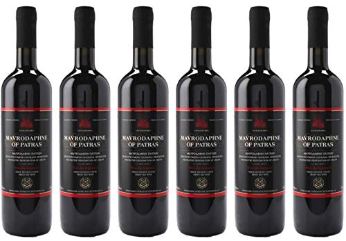 "6x 0,75l Mavrodaphne aus Patras P.D.O. Loukatos Likörwein rot   15% Vol.   + 1 x 20ml Olivenöl""ElaioGi"" aus Griechenland"