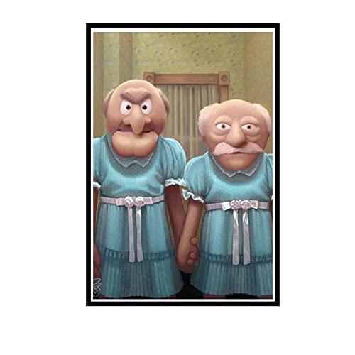 IUYTRF Muppet Maniac Statler und Waldorf als die Grady Twins Gemälde auf Leinwand Poster Drucke Cuadros Home Decor Schlafzimmer-50X80 cm No Frame 1 Pcs