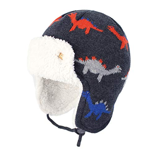 "Zando Baby Beanies Infant Toddler Cute Cartoons Hat Baby Boys Earflap Caps Fall Winter Cute Dinosaurs L (19.69""-20.47"")suggest 2-4T"