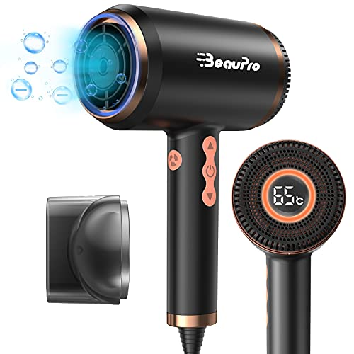 Hair Dryer, BeauPro 1500W Professional Negative Ionic Blow Dryer with LED Display & Three-Color...