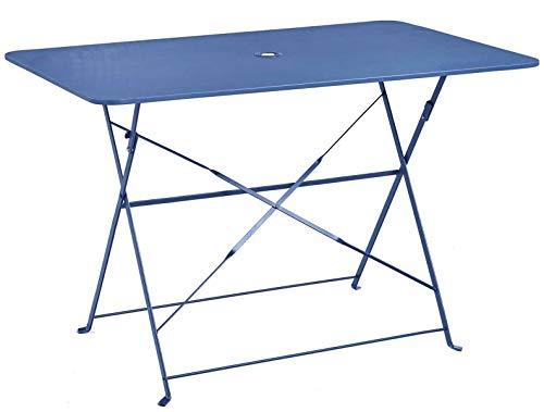 PEGANE Table Pliante rectangulaire en métal Coloris Bleu Gendarme - Dim : 110 x 70 x 70cm