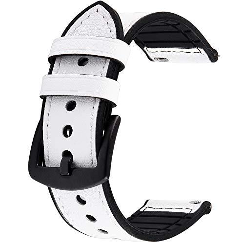 GerbGorb Cinturino per Orologio 20/22mm, Meex Cinturini Pelle e Silicone Comapatibile con Amazfit/Huawei/Casio, per Uomo/Donna, 22mm, Bianco + Fibbia Nera