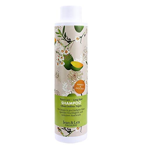 Jean & Len Philosophie Shampoo Nutri Care – Mango, Avocado, für langes & geschädigtes Haar, Feuchtigkeitspflege, reduziert Haarbruch, 300 ml, 1 Stück