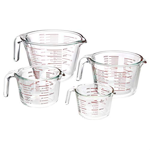 AmazonCommercial Glass Measuring Cup Set, 4 Piece Set Includes 1 Cup, 2 Cup, 4 Cup, and 8 Cup
