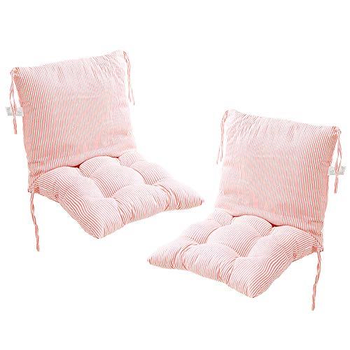 Deike Mild 2 Stück Stuhlkissen mit Rückenteil Sitz, Rückenkissen mit Bänder, Niedriglehner Auflage Polsterauflage Gartenstuhl (N,40x40cm)