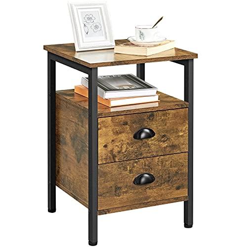 Yaheetech Nachttisch, Nachtkommode, Beistelltisch, Nachtschrank mit Schubladen und Ablage, rustikale Holzoptik, Akzentmöbel, Metallbeine, stabil, Industrie-Design