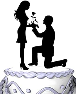 Meijiafei Wedding Cake Topper - Could You Marry Me? Rose for Propose Engagement Decoration