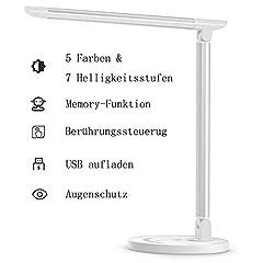 TaoTronics bureaulamp LED 12W kantoortafellamp 5 kleur en 7 helderheidsniveaus dimbare geheugenfunctie USB-poort voor het opladen van de smartphone tafellamp oogbescherming touch panel operatie *