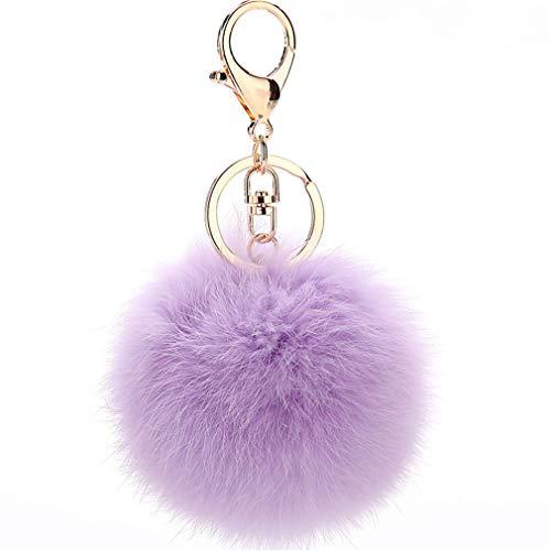 Schlüsselanhänger plüsch Ball Keychain Elegant Plüsch-Kugel Auto-Anhänger Taschenanhänger bommel Pompom Weich Schlüsselring Handtaschenanhänger Dekor (Hell Lila)