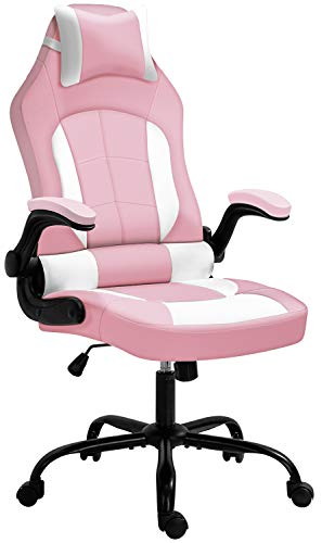 Gaming Chair, Cadcah Ergonomic Computer Chair High Back Office Chair Height Adjustment Desk Chair with Armrests Headrest and Lumbar Support PC Gaming Chair for Adults/Teens/Men/Women (Pink White)