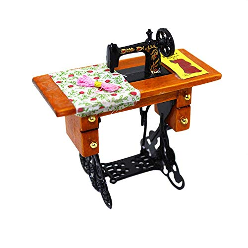 BANNAB Vintage Mini Sewing Machine Kid Toy for 1:12 Dollhouse Miniature Scene Model Accessories Kids Pretend Play Toy Perfect for Interior Model 8x4.4x8cm