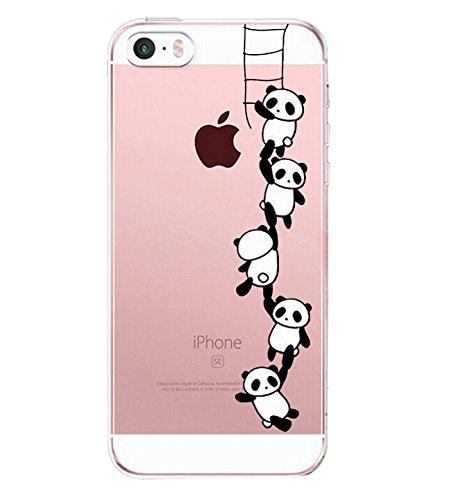 Caler Kompatibel mit/ Ersatz für Hülle iPhone SE/5S/5 Hülle Silikon Transparente Ultra Slim TPU dünne stoßfeste mit Motiv Tasche Etui Schutzhülle Case Cover(Panda Treppensteigen)