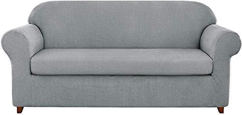GCP Funda de sofá de Jacquard granulado de 2 Piezas Funda de sillón de Spandex de Alta Elasticidad, Protector de Muebles de Moda, Abrigo de cojín elástico Reutilizable (Gris Claro, 3 plazas/so