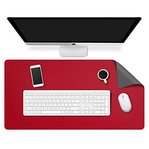MoKo Computer Desk Mat - PU Large Extended Gaming Mouse Pad, Non-Slip Keyboard Mouse Mat, Waterproof Office Writing Desk Pad Protector, 31.5 x 15.7 x 0.08 Inch - Double Side Gray/Aggot red