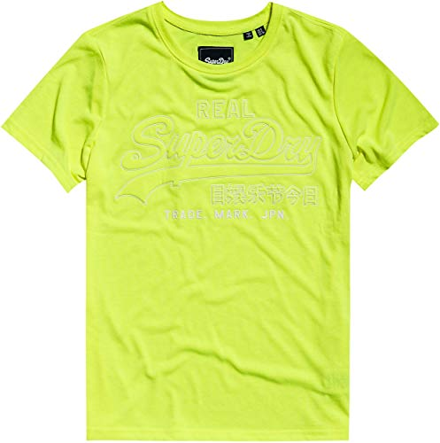 Superdry Damen VL Outline POP Entry Tee T-Shirt, Gelb (Neon Yellow 24K), S (Herstellergröße:10)