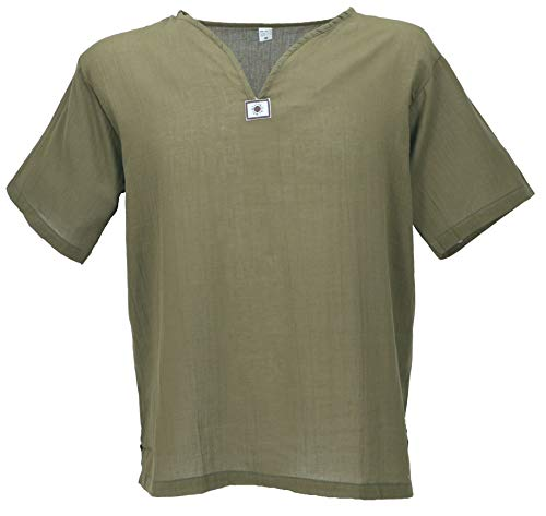 GURU SHOP Yoga Hemd, Goa Hemd, Kurzarm, Männerhemd, Baumwollhemd, Herren, Olivgrün, Baumwolle, Size:L, Hemden Alternative Bekleidung