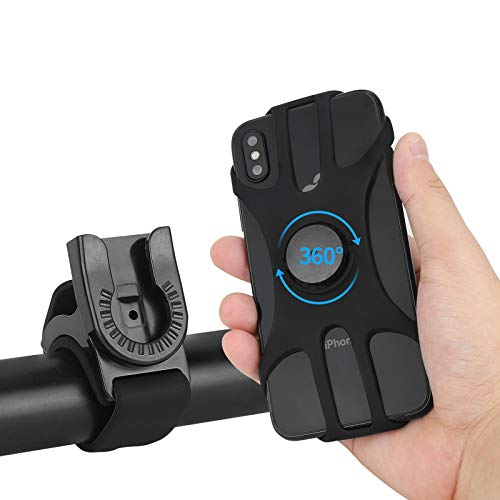 """Bike Phone Mount, 360° Detachable Rotatable Bicycle & Motorcycle Cell Phone Holder Adjustable Handlebar Cradle fit iPhone 11 Pro Max/X/XS MAX/XR/8/8 Plus, Samsung 4.0""""~6.5"""" by WESTRICHE (Black)"""