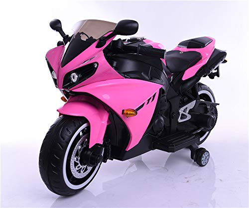 TAMCO Kids Electric Motorcycle with Training Wheels, Light Wheels ,Ride On Motorbike, Speed by Hand, Music Function, Max Load 66LB (Pink)
