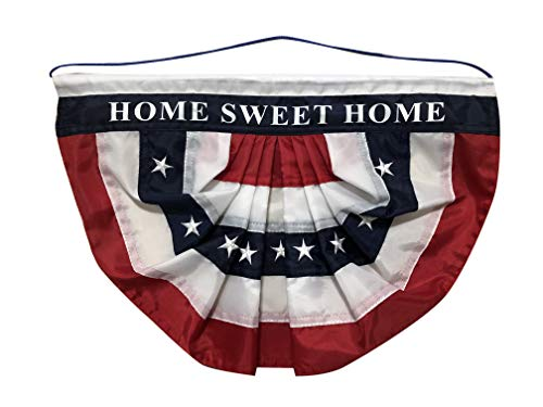 Home Sweet Home Patriotic Bunting Flag - 10\' x 16\', 4th of July, Veteran's Day, Home Decor, Porch Decor, Hanging Door Decorations, Country, Farmhouse, American Flag Bunting Banner, USA, Memorial Day