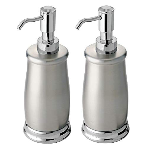 mDesign Decorative Metal Refillable Liquid Soap Dispenser Pump Bottle for Bathroom Vanity Countertop, Kitchen Sink - Holds Hand Soap, Dish Soap, Hand Sanitizer, Essential Oil - 2 Pack - Chrome/Brushed