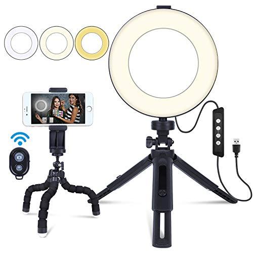 "MACTREM Anillo de Luz, Aro de Luz Regulable 6"" para Selfie Fotografía, Ring Light con Trípode y Soporte para Movíl, LED Lámpara para Maquillaje, Youtube, Transmisión en Vivo Grabación de vídeo"