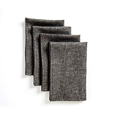 Solino Home Linen Dinner Napkins - 20 x 20 Inch Grey, 4 Pack Linen Napkins, Athena - 100% European Flax, Soft & Handcrafted with Mitered Corners