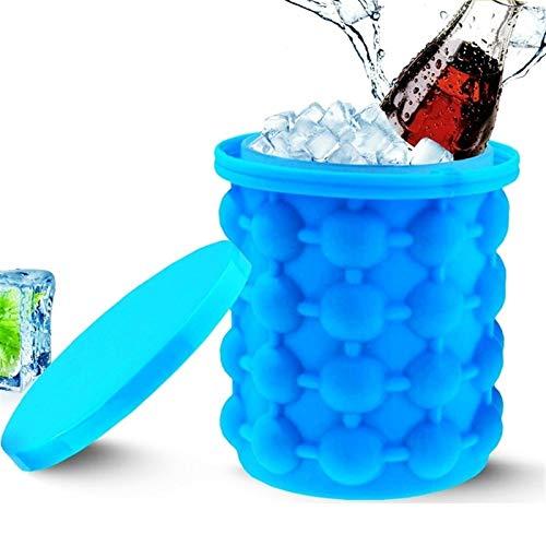 Cubo de hielo portátil 2 en 1 grande molde de silicona Cubos de hielo con tapa ahorro de espacio Cube herramientas del fabricante for Cocina partido for Bar for cubitos de hielo, botellas de cerveza C