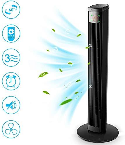 Amzdeal Turmventilator mit Fernbedienung - 96 cm Säulenventilator mit 3 Geschwindigkeitsstufen, 3 Modi Ventilator mit LED-Display & Touchpanel, 12H Timer, 60° oszillierend, Geräuscharm, 45W, Schwarz