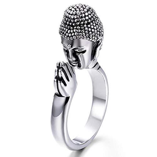 Oulensy Legierung Unisex Frieden Buddha Shakyamuni Buddhismus-Kopf-Ring Für Den Frieden Beten Für Lucky Adjustable Ring