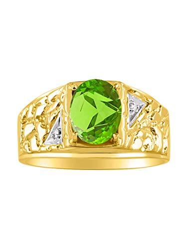 RYLOS Nugget Peridot & Diamond Ring - August Birthstone
