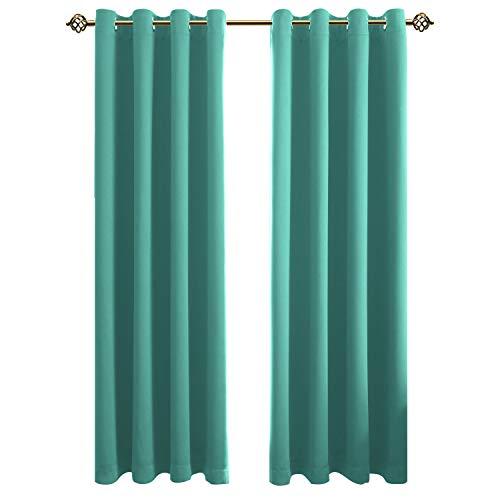 FLOWEROOM Blickdichte Gardinen Verdunkelungsvorhang - Lichtundurchlässige Vorhang mit Ösen für Schlafzimmer Geräuschreduzierung Türkis 260x140cm(HxB), 2er Set