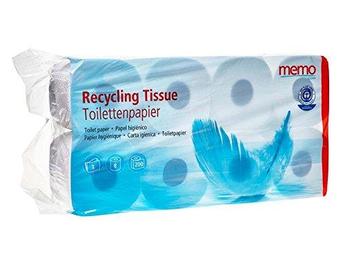 Memo Toilettenpapier 3lagig-Recycling Tissue 1x8 Rollen Pack
