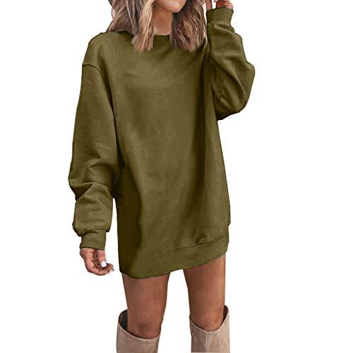 Women T-Shirt Brief Beautiful Loose Long Sleeve Stylish Simple Wild Tops(Army Green,XL)