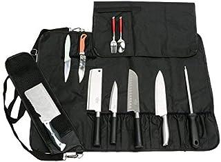 JURONG Sac à couteaux de chef avec 17 compartiments, pour couteaux, cuillères et fourchettes, étui de rangement étanche po...