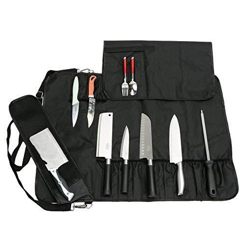 JURONG Bolsa para cuchillos de chef con 17 compartimentos, para guardar cuchillos, cucharas y tenedores, resistente al agua, bolsa de almacenamiento para herramientas de cocina (negro)
