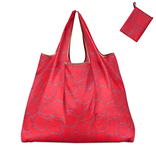 KINGMAS Reusable Grocery Bags, Eco-Friendly Folding Tote Shopping Bag fits in Pocket, Washable Waterproof Nylon holds Heavy Groceries Pouch Bags (Red)