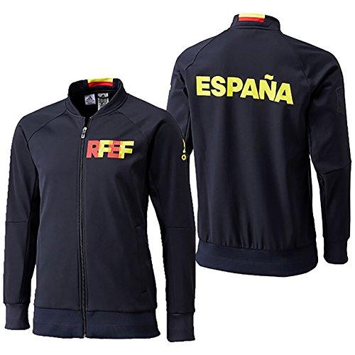 adidas Fef Anth Jkt KN Nazionale di Calcio della Spagna 2016, Giacca Uomo, Nero/Giallo/Rosso (Ngblu/Amabri), S