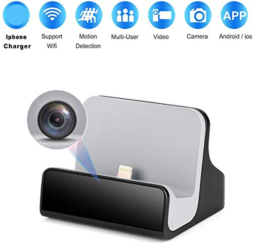 Hidden Nanny Camera iPhone Charger Dock Spy Cam with Night Vision for Home Security Camera WiFi Pet Cameras (iPhone Charger)