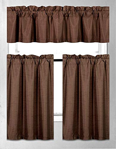 Rooney 3 Pieces Faux Silk Blackout Kitchen Curtain Set Tier Curtains and Valance Set Solid Thermal Backing Drapes Window Treatment (Brown)