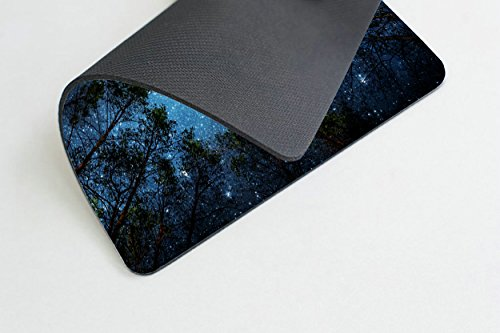 Beautiful Night Sky Mouse Pad by Smooffly, The Milky Way and The Trees Mouse Pad,Sublime Forest Nature View Rectangle Non-Slip Rubber Mousepad Gaming Mouse Pad Photo #2