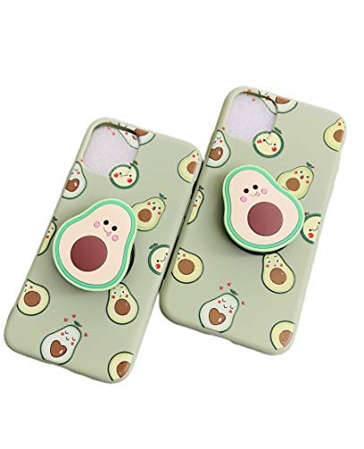 3D Cute Avocado iPhone 11 Case with Ring Holder, Soft Silicone