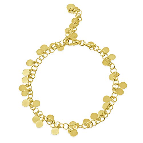 WANDA PLATA Pulsera Chapitas para Mujer Plata de Ley 925 con Baño de Oro, Pulsera Chapas Círculos Placas Redondas en Caja de Regalo, Joyería de Moda