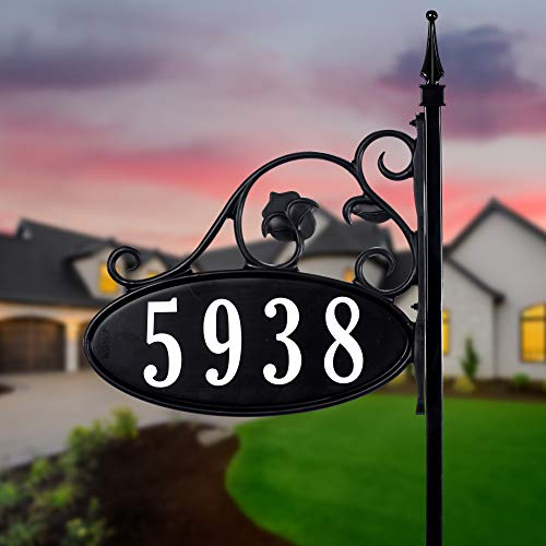 Address America Ready To Install Yard Sign Address Plaque with Highway-grade reflective vinyl House Numbers Wrought iron look, Oval, Black, Double-sided house plate, 911 Visibility Signage, 30