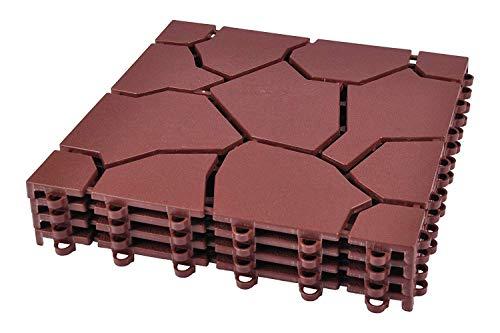 Unbekannt Bodenplatten 4er-Set Beetplatten Gehwegplatten Rasenplatten Gartenweg Platten, Farbe:Braun