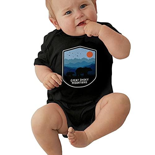 Body de manga corta para bebé con diseño retro de las grandes montañas ahumadas del Parque Nacional Osos Puesta del Sol